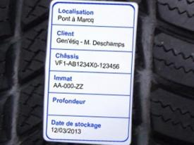 Seasonal tire storage labels (in rolls)